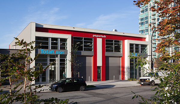 Papertech's North Vancouver office and main manufacturing facility
